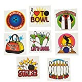 Pack of 12 - Ten Pin Bowling Temporary Tattoos - Great Boys Girls Loot Bag Fillers Accessories