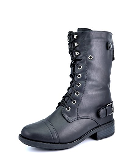Dream Pairs Round Toe Lace up Military Combat Boots
