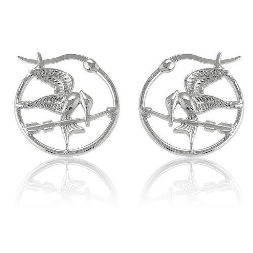 Sterling Silver The Hunger Games-Inspired Mockingjay Hoop Earrings