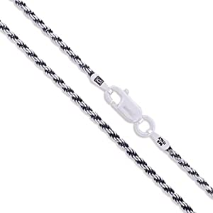 Sterling Silver Diamond-Cut Oxidized Rope Chain 1.5mm 925 Antiqued Necklace 30