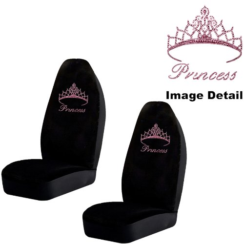 Pink Princess w/ Cute Crown Gem Crystal Studded Rhinestone Bling Car Truck SUV Front High Back Bucket Seat Covers - Pair (Princess Seat Covers compare prices)