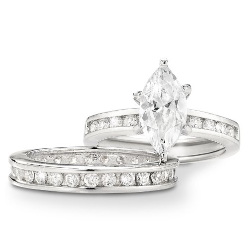 1.5 Carat CZ Marquise Solitaire Eternity Band Duet Sterling Silver