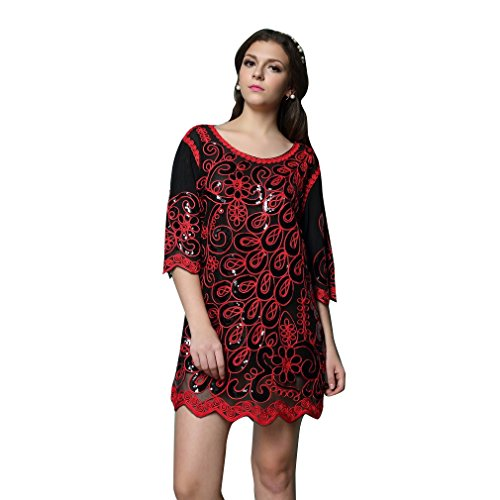 1920s Gatsby Dress Red Peacock Long Sleeve Dress For Women Plus size