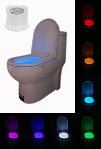 Motion Activated Toilet Night Light-Two Modes with 8 Color Changing – Sensor LED Washroom Night Light – Fits Any Toilet (1 pc)
