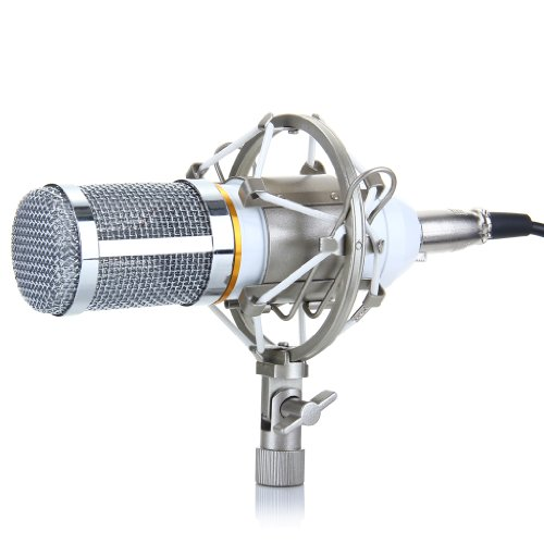 Excelvan® Bm-800 Condenser Sound Recording Microphone + Mic Shock Mount, Ideal For Radio Broadcasting Studio, Voice-Over Sound Studio, Recording And So On (White)