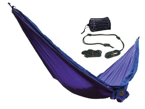 Ticket to the Moon Parachute Silk Double Hammock with Rope Fixing Kit - Purple/ Navy