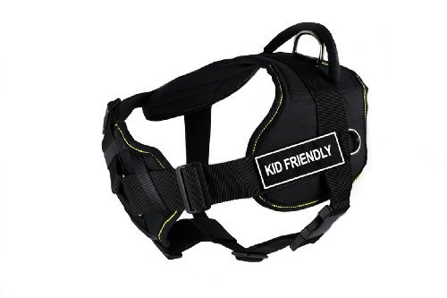 dean-tyler-32-to-107cm-kid-friendly-fun-harness-with-padded-chest-piece-large-black-with-yellow-trim
