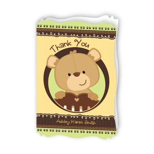 Baby Teddy Bear   Personalized Baby Shower Thank You Cards