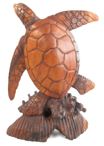 LARGE HAND CARVED MAHOGANY TURTLE SCULPTURE TABLE TOP CENTER PIECE