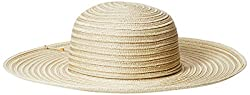 Nine West Women's Packable and Radial Mix Floppy Hat, Natural, One Size