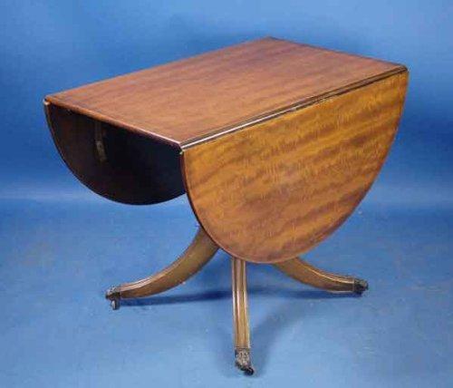 Antique Mahogany Pedestal Drop Leaf Table