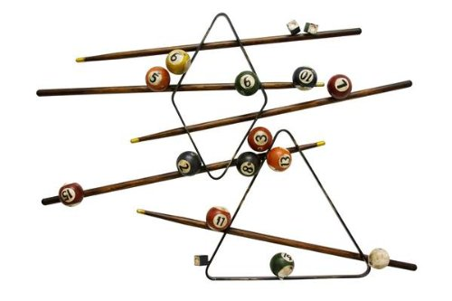 Renaissance 2000 Decorative Metal Billiard Wall Decor, 38.4-Inch by 3.9-Inch by 27.6-Inch