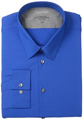 Calvin Klein Men'S Slim Fit Stretch Solid, Deep Blue, X-Large 34/5 (17-17.5)