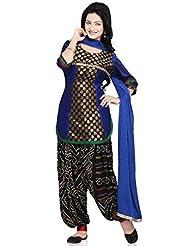 Utsav Fashion Women's Royal Blue Chanderi Brocade And Dupion Silk Jasmine Pant With Kameez-X-Small