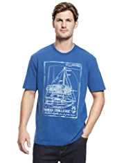 Blue Harbour Pure Cotton Sailing Print T-Shirt