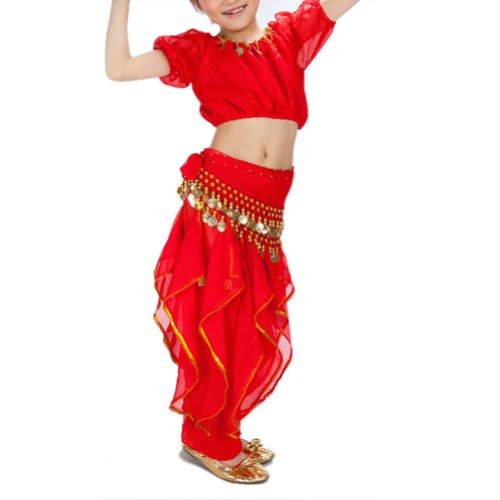 BellyLady Kid Tribal Belly Dance Costume, Harem Pants & Short Sleeve Top Sets