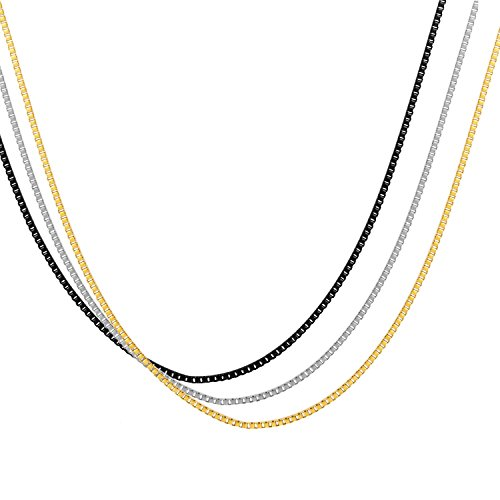 Areke 1.2mm Stainless Steel Box Chain Necklaces for Men Women Pack of 3Pcs 14 36 inches Black Gold Silver Item Length 14 inch (Pittsburgh Pirates Tire Cover compare prices)
