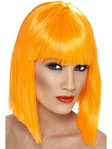 Smiffy's Women's Glam Wig Neon Short Blunt with Fringe, Orange, One Size