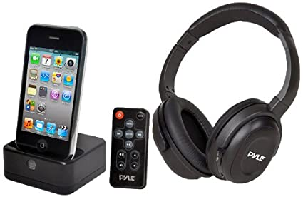 Pyle PIH30R UHF Wireless Stereo Headphone (With Wireless iPhone/iPod Dock Transmitter and RF Remote Control)