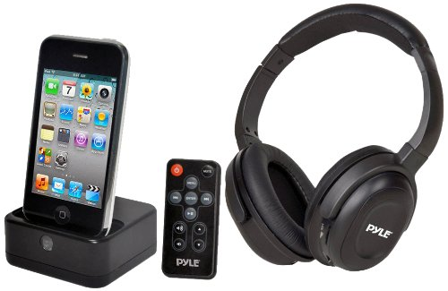 Pyle Home Pih30R Uhf Wireless Stereo Headphone With Wireless Iphone/Ipod Dock Transmitter And Rf Remote Control