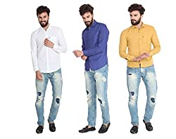 Pelican's Pack Of 3 White, Blue & Yellow Slim Fit Casual 100% Cotton Shirt