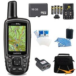GPSMAP 64st Worldwide Handheld GPS BirdsEye Canada Maps 16GB Accessory Bundle. Bundle... by Garmin