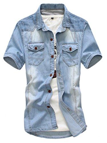 Easy Mens Hip Hop Retro Denim Jean Short Sleeve Slim Fit Dress Shirts Coat