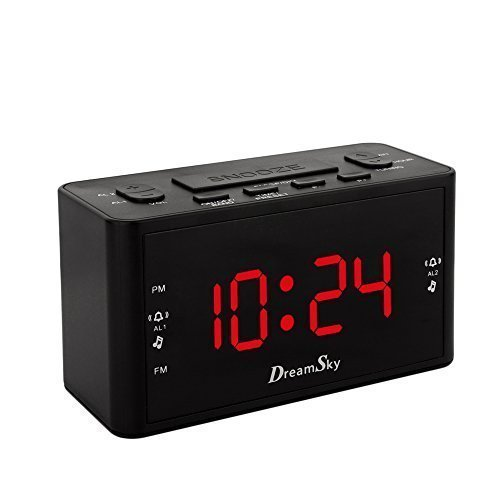 DreamSky Large Display Dual Alarm Clock With AM/FM Radio ,Battery Backup ,Sleep Timer And Snooze , 2 Dimmer Optional (Dual Alarm Clock Large Display compare prices)