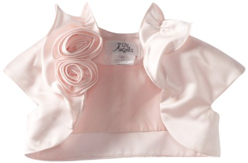 Us Angels Little Girls' Satin Bolero with Fabric Rosettes, Blush Pink, 3T