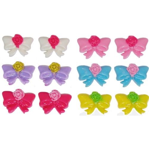 Set Of 6 Pairs Bow Studs with Flower Center In Assorted
