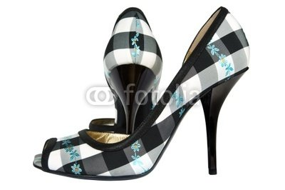 "Wallmonkeys Peel and Stick Wall Decals - Female Shoes from a Textile on a High Heel - 18""W x 12""H Removable Graphic"