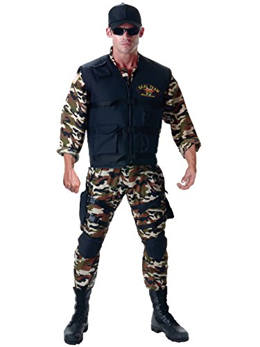 Mens Navy Seal Costume 5 Piece Set with Camo Jumpsuit and Accessories