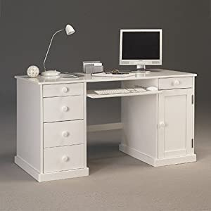 Beaux meubles pas chers bureau informatique blanc de style anglais amazon - Meuble informatique blanc ...