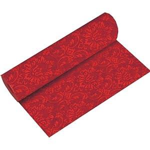 24m rolle tischl ufer 40cm ornament rot stoff hnlich papier tischband tischdeko hochzeit. Black Bedroom Furniture Sets. Home Design Ideas