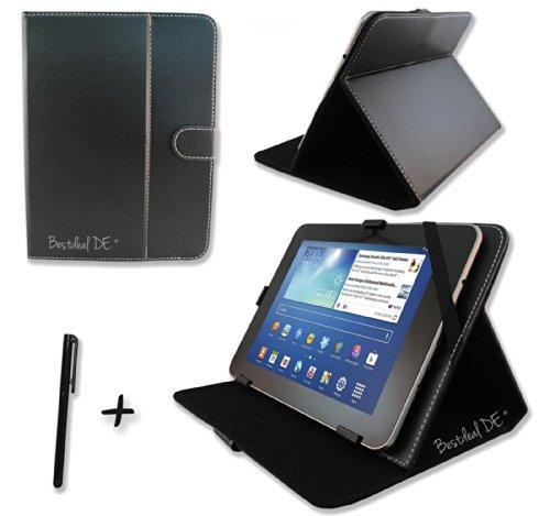 """Schwarz PU Lederner Tasche Case Hülle für Point of View ProTab 3XXL & ProTab 25XXL 10.1"""" Zoll Inch Tablet-PC + Stylus Stift"""