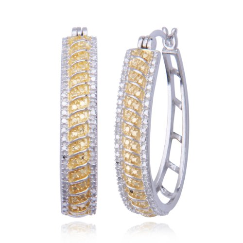 18k Gold Plated Sterling Silver Diamond-Accent Hoop Earrings (0.9