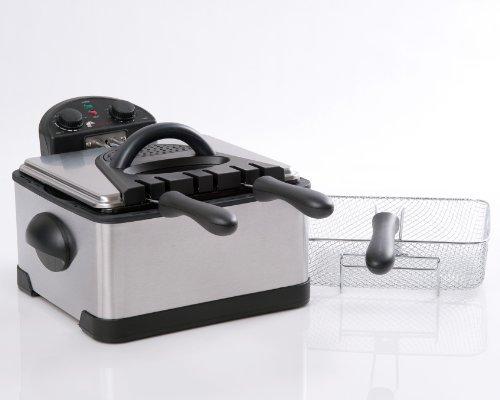 Secura 4.2L/17-Cup 1700-Watt Stainless-Steel Triple-Basket Electric Deep Fryer with Timer