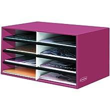 Bankers Box Decorative 8 Compartment Literature Sorter, Letter, Persimmon Red (6140301)