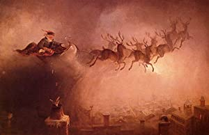 SANTA CLAUS COMING TO TOWN PRINT BY WILLIAM HOLBROOK BEARD REPRO
