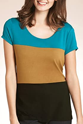 Short Sleeve Colour Block Jersey Top [T43-8212-S-LCTB]