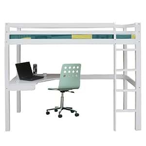 Lit mezzanine lit en hauteur bureau enfant inclus blanc cuisine - Mezzanine bureau enfant ...