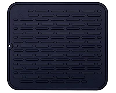 Extra Large Silicone Dish-Drying Mat & High-Heat Resistant Trivet | Antimicrobial, Antibacterial | 17.8 x 15.75 inch