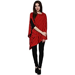 Pluchi Fashion Knitted Cotton Poncho Garnet-Red & Hot Red