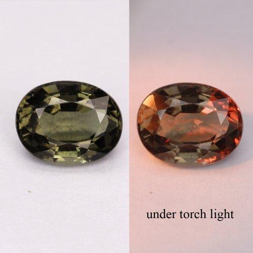 Gems Royal 1.28 Ct. Best Green To Red Natural Color Change Garnet Gem : 6.94 x 5.45 x 3.63 mm.