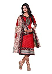 Salwar Style Design Women's Cotton Unstitched Salwar Suit Dress Material (SS1020_Free Size_Red & Cream)