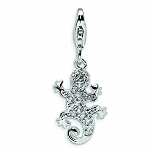 Sterling Silver CZ Lizard with Lobster Clasp Charm