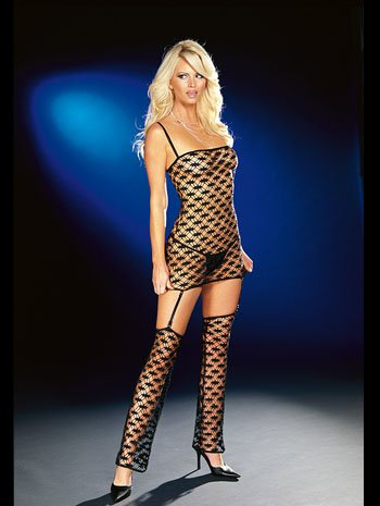 Sexy Fantasy See Thru Garter Fishnet Mini Dress - SMALL