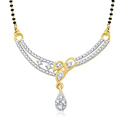 VK Jewels Three Leaf Design Gold and Rhodium plated Mangalsutra Pendant for Women- MP1017G [VKMP1017G]