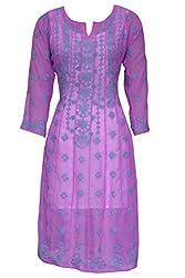 ADA Traditional Chikan Embroidery Ethnic Wear Exclusive Anarkali Kurti Kurta A17194