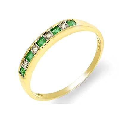 Yellow 18ct Gold 0.29ct Emerald & 3pt Diamond Half Eternity Ring